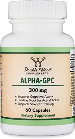 Double Wood Supplements Alpha GPC Choline Capsules - 60 Count, 600mg Servings - Brain Booster Aid that Supports Focus, Memory, Motivation, and Energy - Gluten Free, Non-GMO Brain Support Supplement