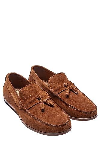 next Hombre Mocasines Ante Borlas Corte Regular Bronceado EU 47: Amazon.es: Zapatos y complementos