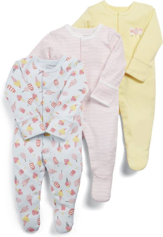 Mamas /& Papas Baby Girls Sleepsuits pack of 3