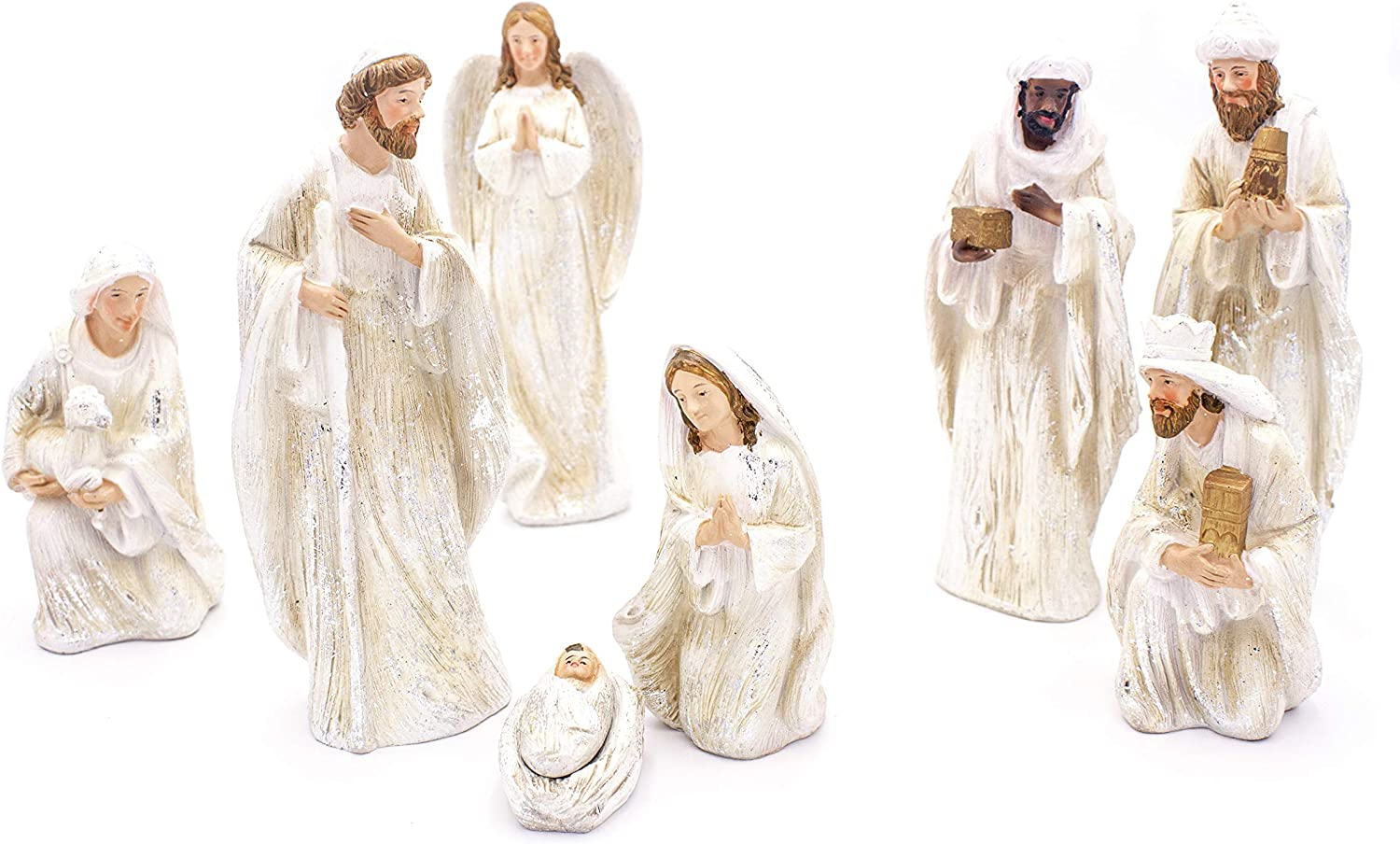 Amazon Com Christmas 8 Piece Complete Indoor Nativity Scene Set White With Silver Accents Holiday Decoration Figurines Includes 8 Real Life Statues Of The Holy Family Wisemen Shepard And Angel Kitchen Dining