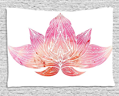 Ambesonne Lotus Tapestry, Pink Lotus Flower with Ornaments on White Background Boho Style Artwork, Wide Wall Hanging for Bedroom Living Room Dorm, 80 X 60 , Pink White