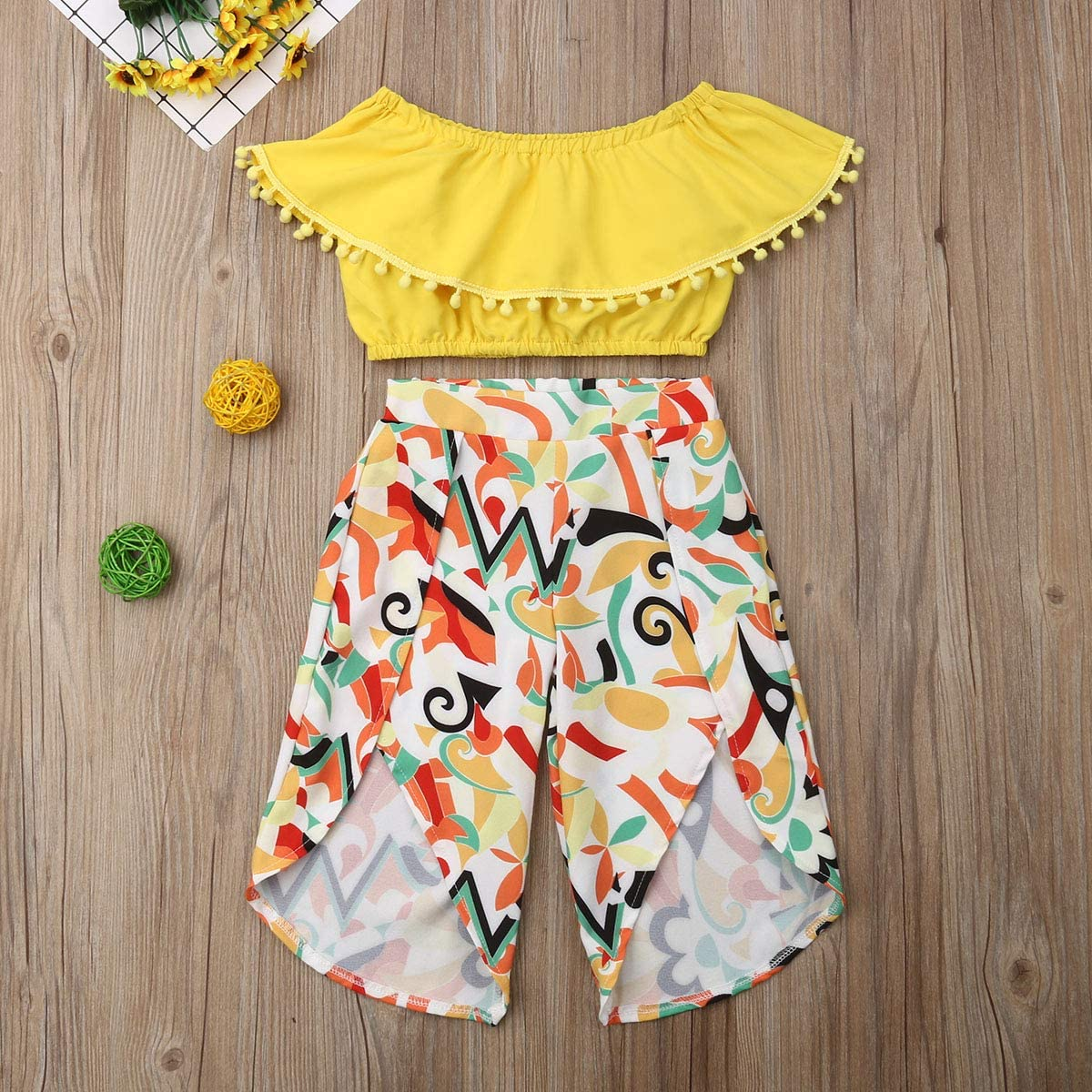 Toddler Kids Baby Girls Summer Outfit Set Ruffle Off Shoulder Crop Tops+Floral Wide-Leg Pants 2Pcs Clothes