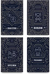 Minimalist Design Posters for a Technological Environment - Make Your Work Area a Place for Geniuses with These High Tech Prints - Wall Art Decor with Double Sided Mounting Tape - Best Gift for Geeks