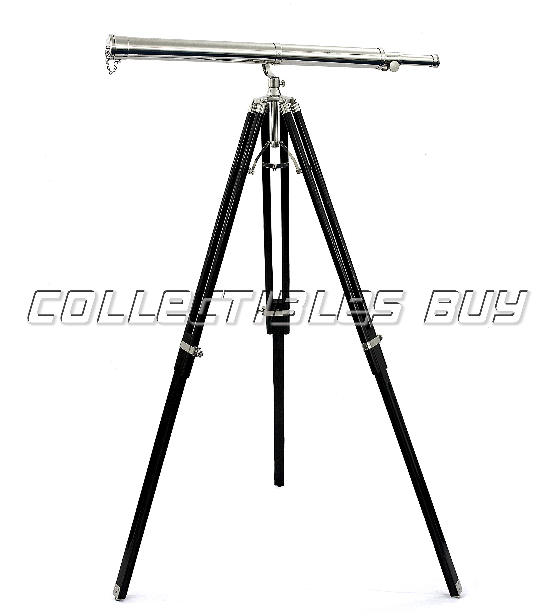 Vintage Nickel Finish Brass Made Nautical Vintage Telescopes Black Tripod Best of Collectibles
