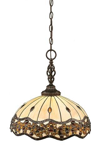 Toltec Lighting 82-DG-997 Elegante One-Light Pendant Dark Granite Finish with Italian Roman Jewel Tiffany Glass, 16-Inch