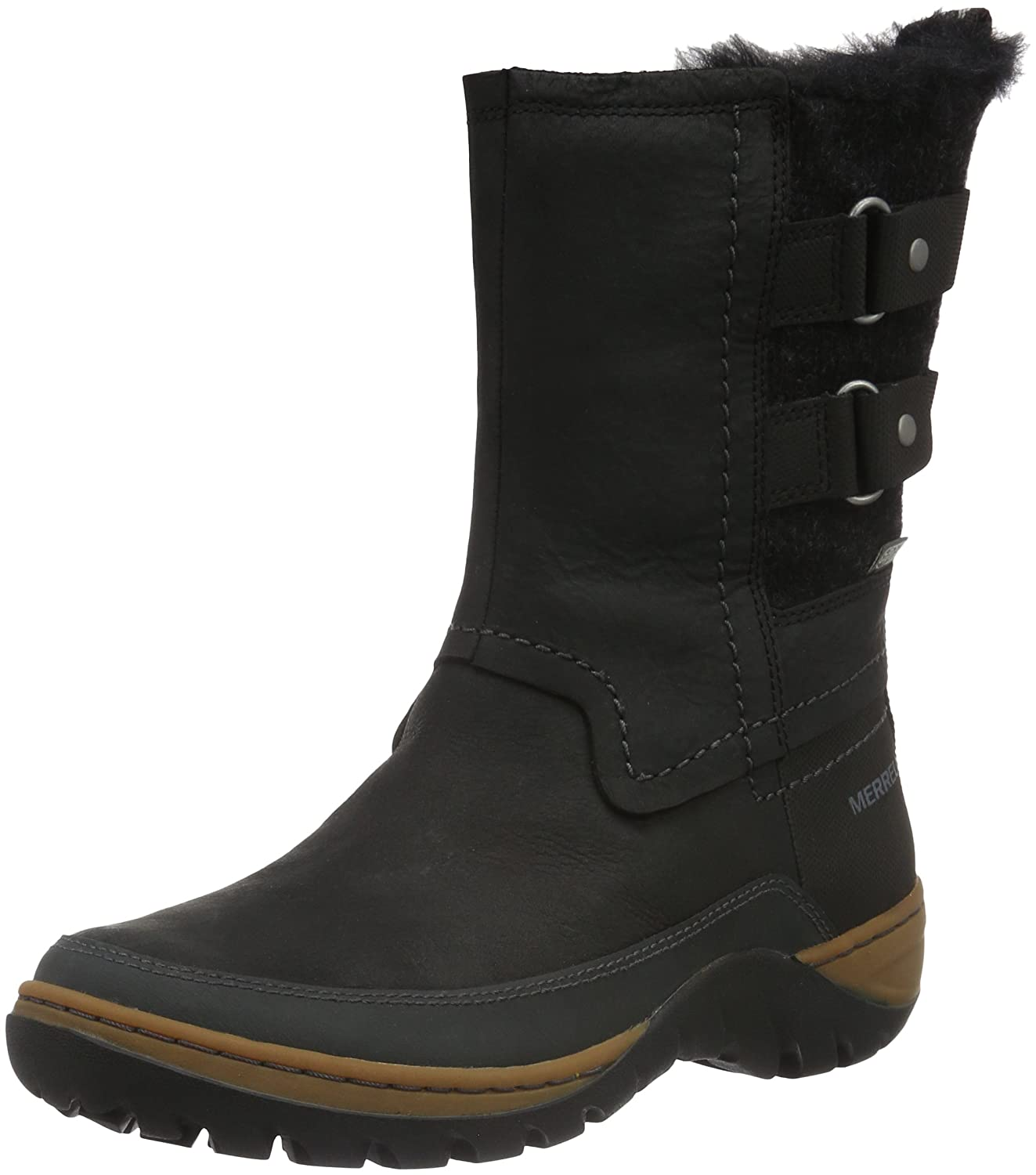 Merrell Women's Sylva Mid Buckle Waterproof-W Snow Boot B01958SEWI 6.5 B(M) US|Black