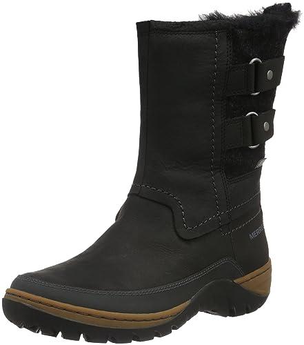 Merrell Women's Sylva Mid Buckle Waterproof Boot, Black, ...