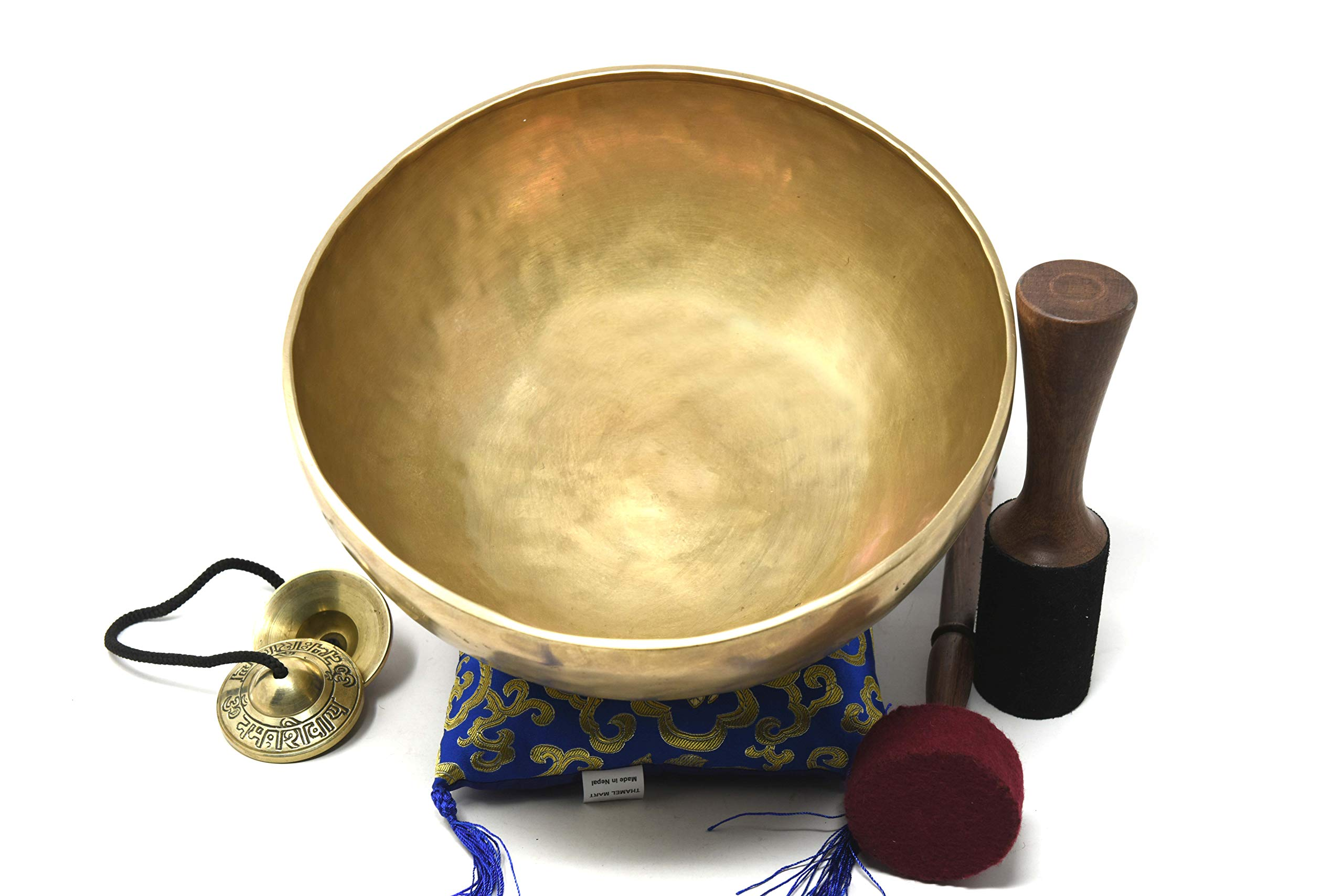 11'' Hand Hammered Tibetan Singing Bowl for Master Chakra Healing, Meditation, Sound Bath & Mindfulness ~ Great vibration for Body Therapy~ Wooden Mallet, Cushion, Drumstick & Tingsha Cymbals included