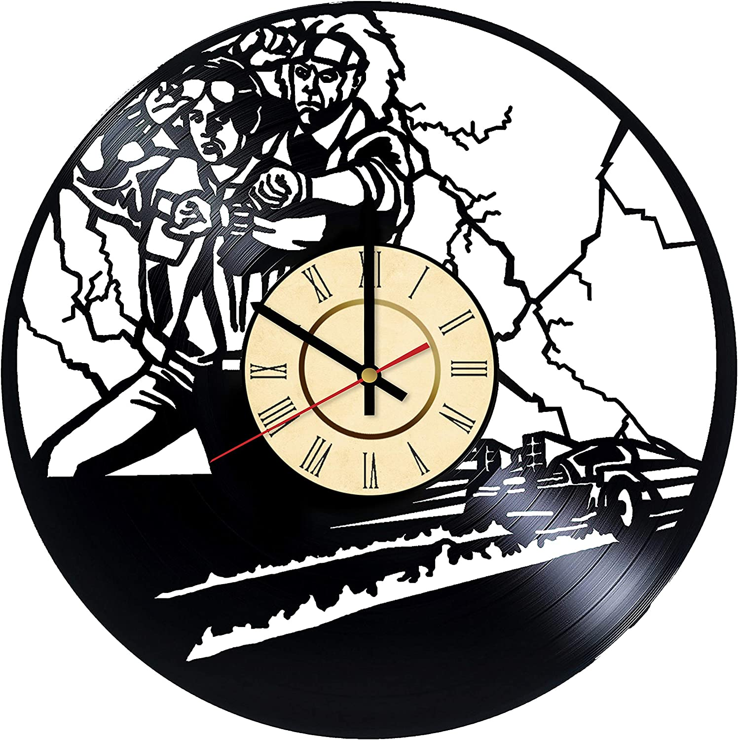 Back to The Future Vinyl Wall Clock Best Gifts for Universal Studios Marty McFly Emmett Doc Brown Funs Home Decor