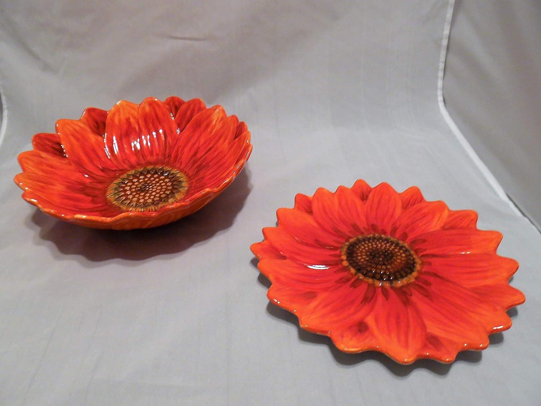 Maxcera Sunflower Salad Desert Plates-Red