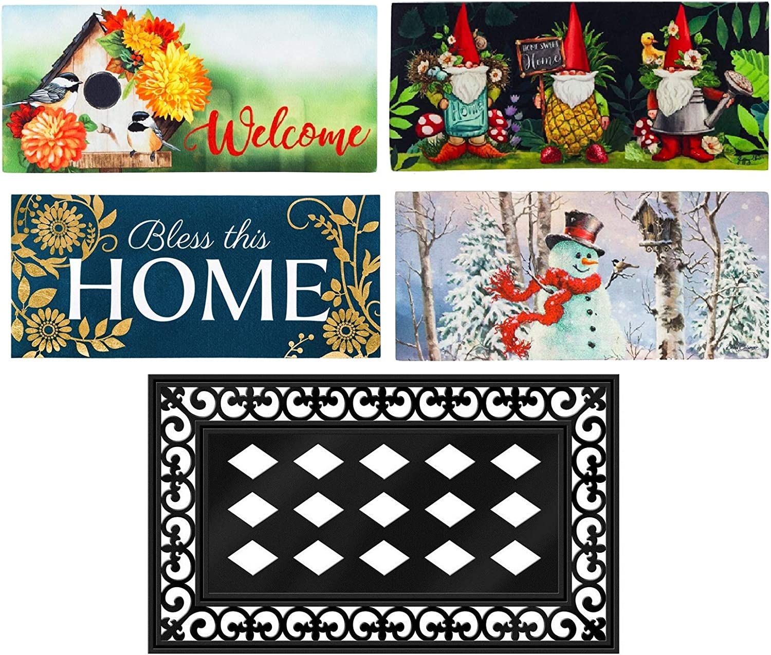 Evergreen Flag Seasonal Mat Set of 5 Interchangeable Sassafras Mat Set and Tray for Patio Garden or Yard Mat Inserts 10 x 22 inches and Mat Tray 18 x 30 inches