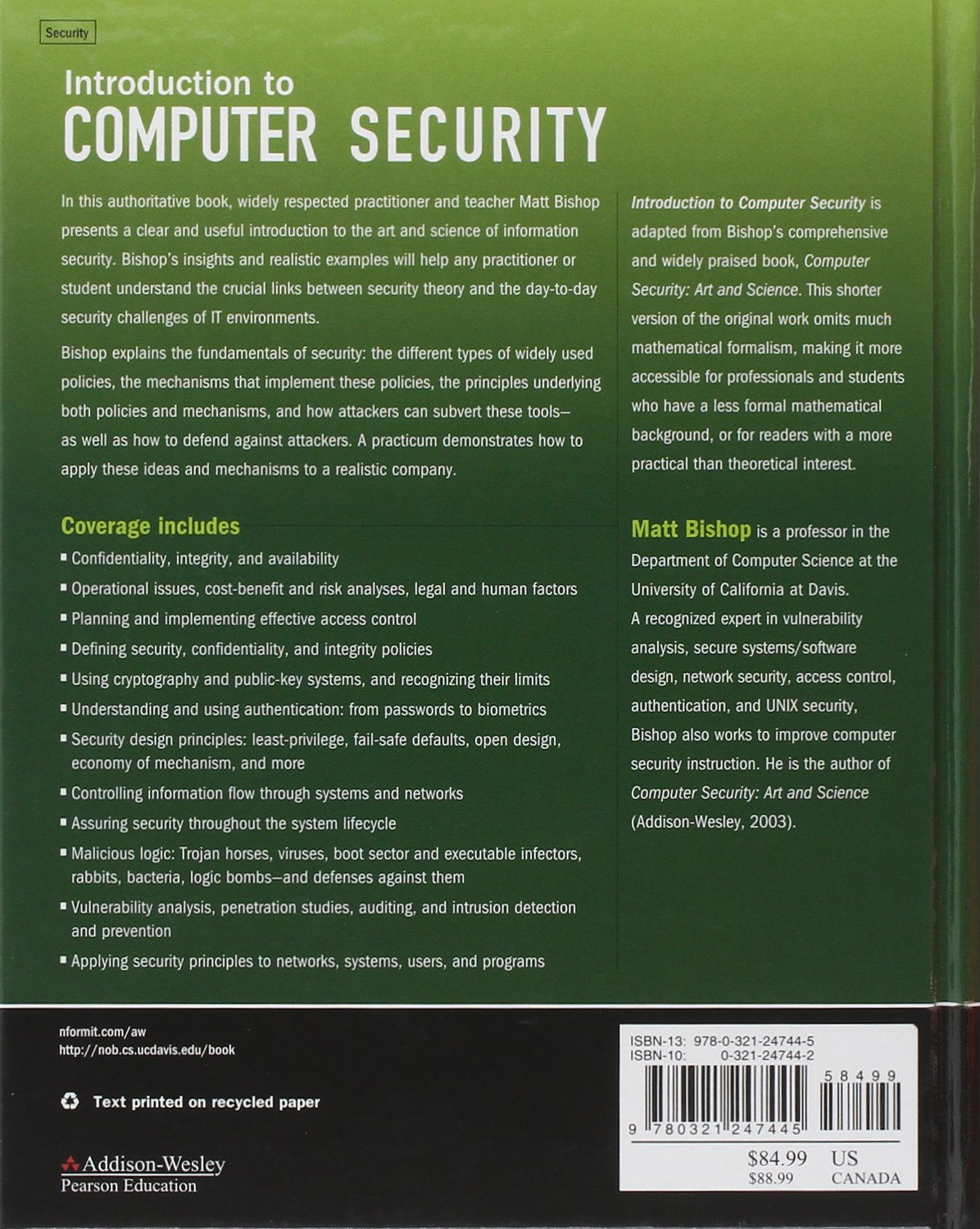 introduction to computer security matt bishop 0785342247442 books rh amazon ca Matt Bishop On Dr. Phil Matt Bishop Aledo
