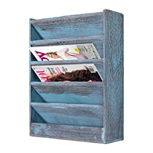 Comfify Rustic Wood Document Filing Organizer for Home or Office – Wall Mounted Magazine Holder with 5 Slots – Mail Organizer for Wall – Real Torched Wood Mail Rack Tray – Rustic Blue