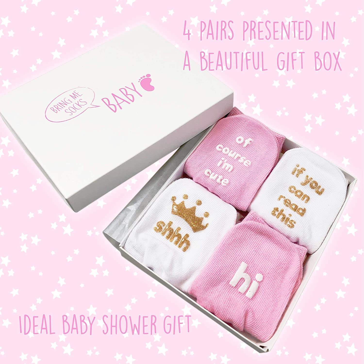 Unique Baby Shower or Newborn Gift For Him or Her 4 Pairs of Cute Quotes in Gift Box Baby Boys /& Girls Socks Gift Set