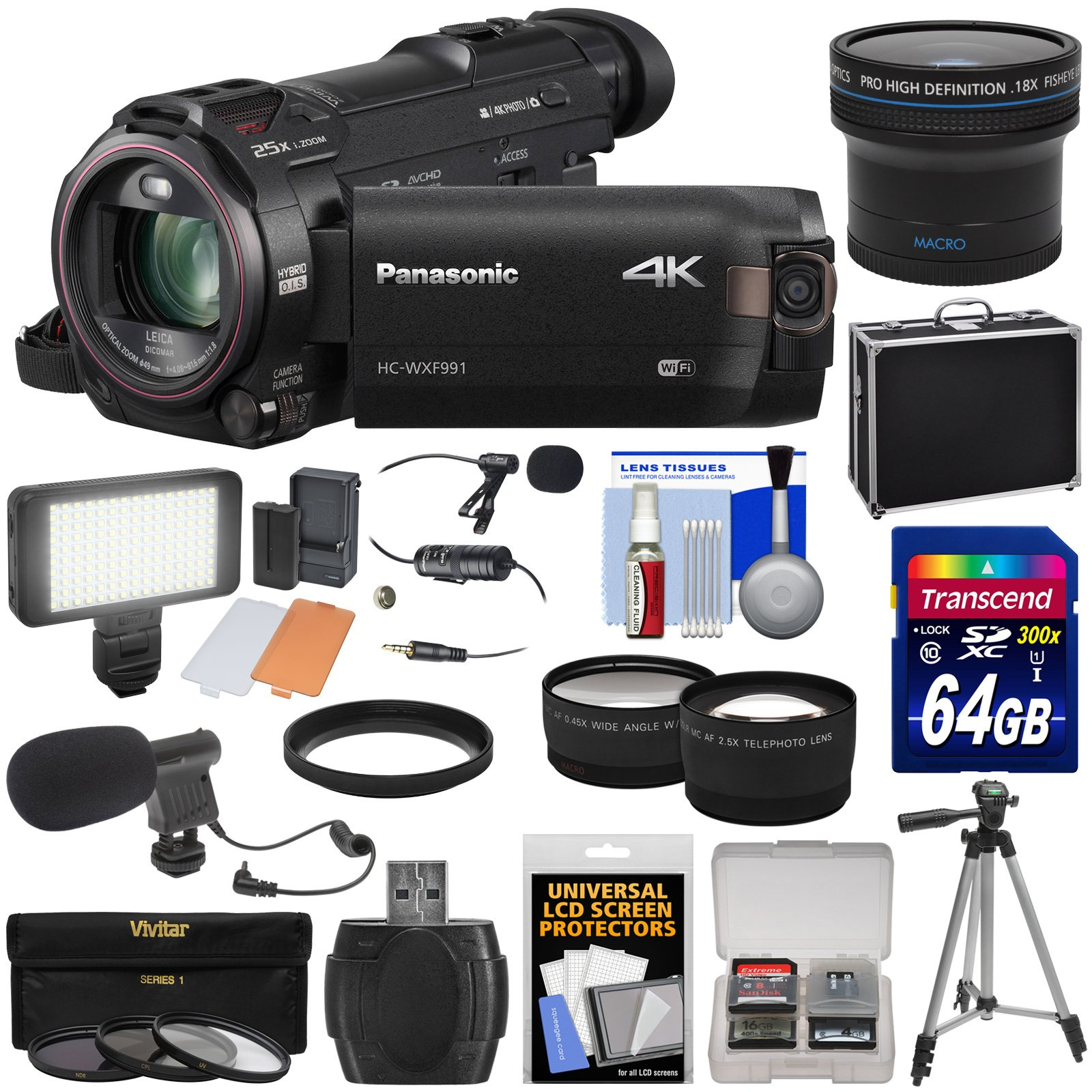 Panasonic HC-WXF991 Wi-Fi 4K Ultra HD Video Camera Camcorder with 64GB + Case + Tripod + LED Light + 2 Mics + Filters + Fisheye, Tele/Wide Lenses Kit by Panasonic