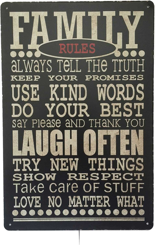 Reglas de la casa en inglés Family Rules Placa de pared Metal Tin ...