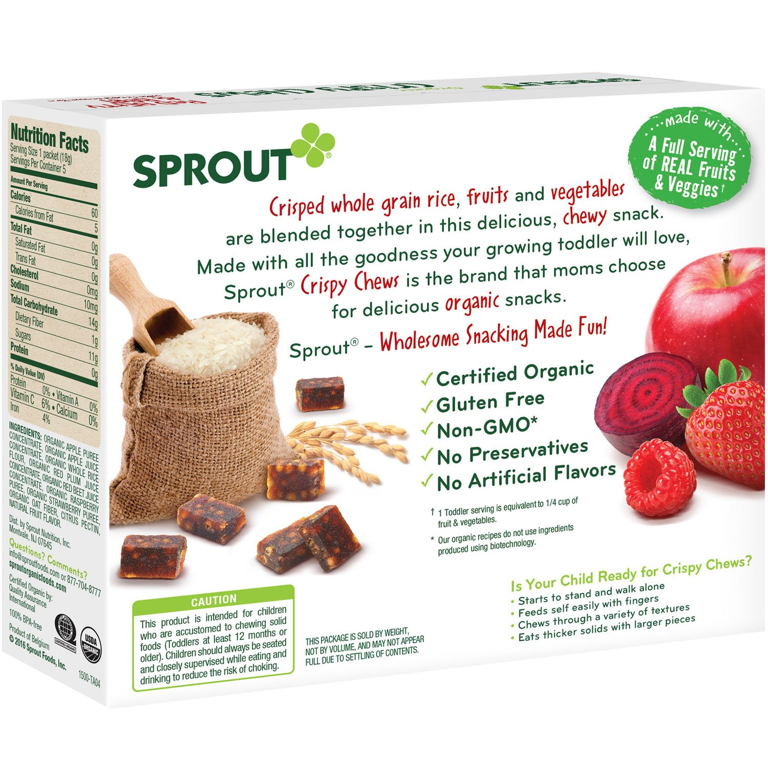 amazon com sprout organic baby food sprout crispy chews organic