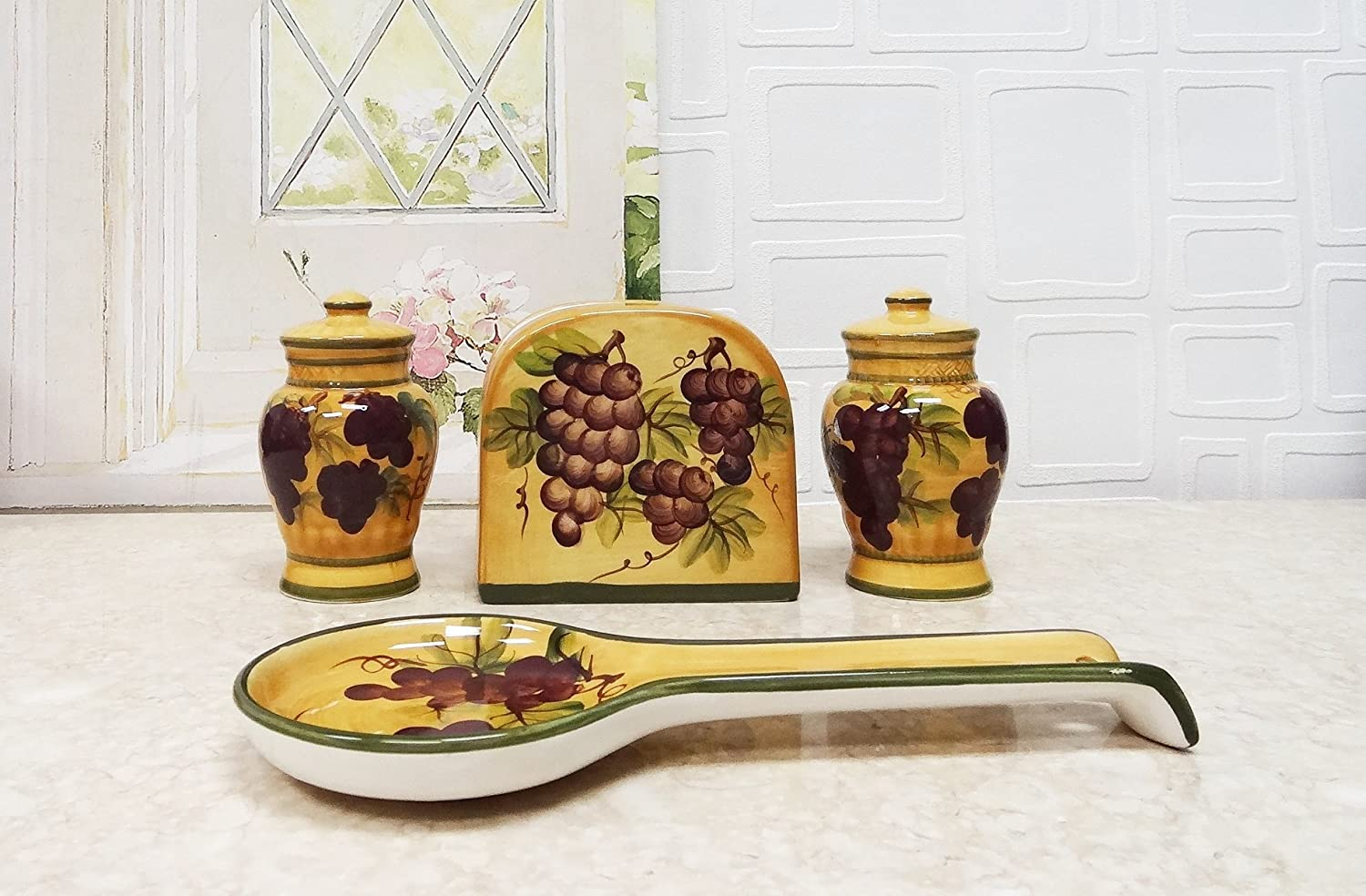 Tuscany Grape 4 Piece Stove Top Set
