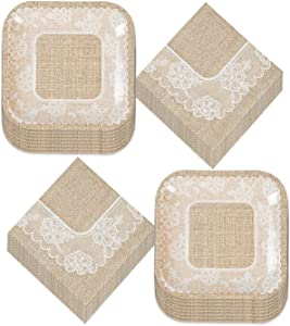 Wedding Party and Bridal Shower Rustic Burlap and Lace Paper Dessert Plates and Beverage Napkins (Serves 16)
