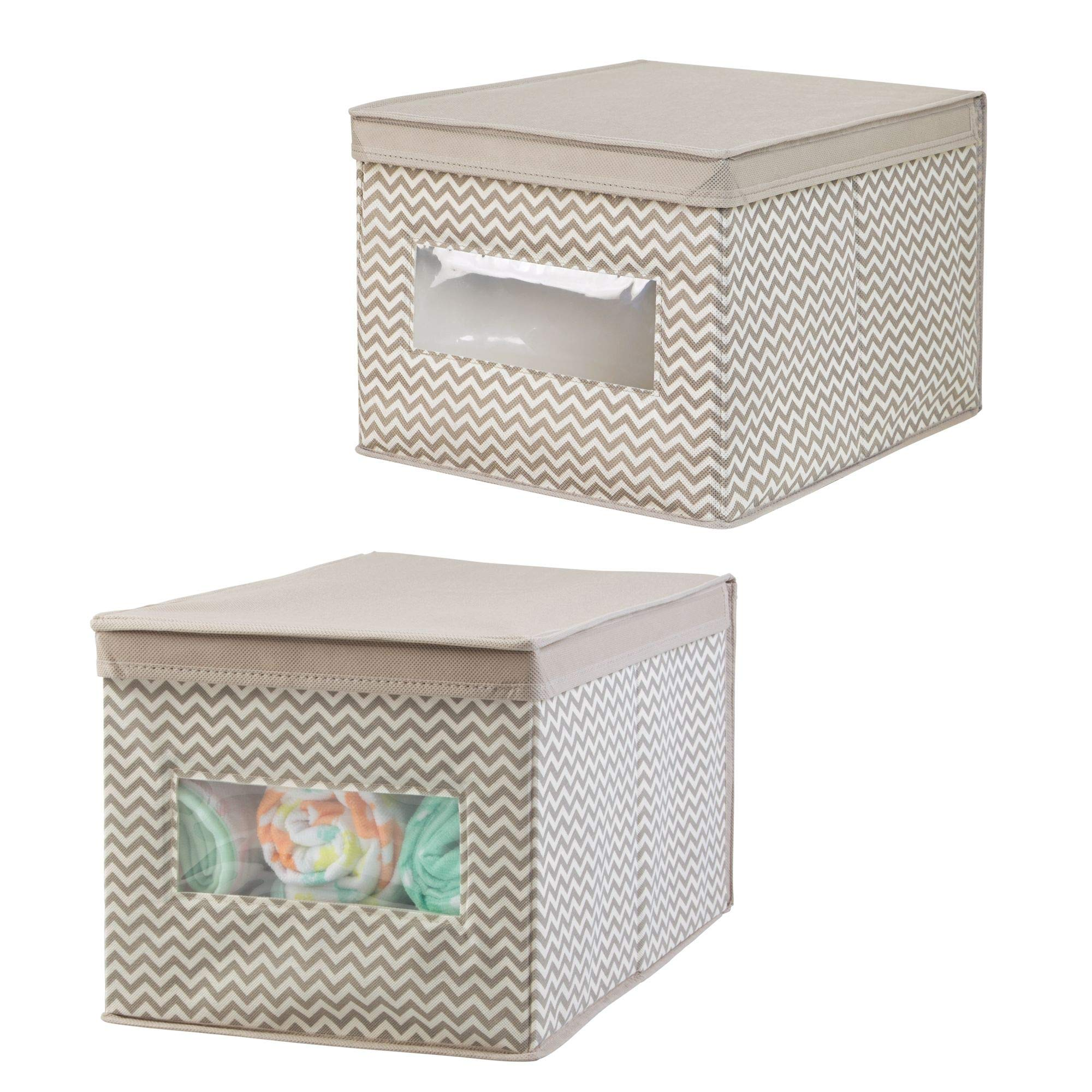mDesign Soft Stackable Fabric Closet Chevron Storage Organizer Holder Box - Clear Window, Attached Hinged Lid, for Child/Baby Room, Nursery - Pack of 2, Large, Zig Zag Pattern in Taupe/Natural