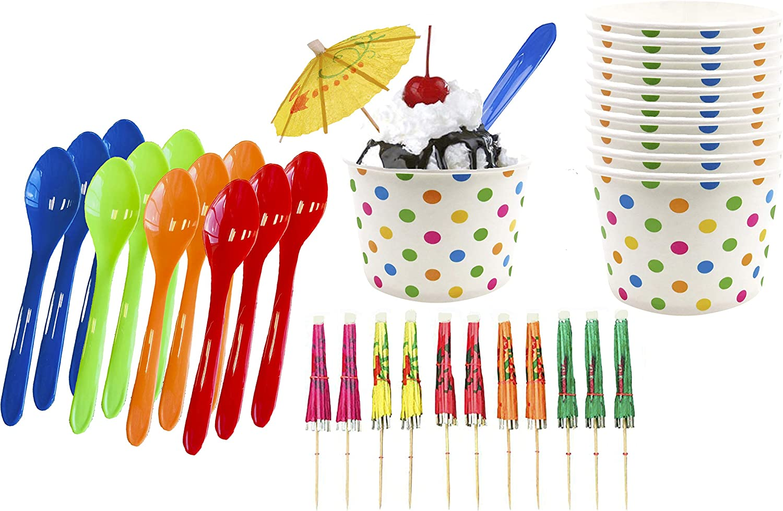 Ice Cream Sundae Kit - 8 Ounce Polka Dot Paper Treat Cups - Plastic Spoons - Paper Umbrellas - Blue Orange Yellow Green - 12 Each