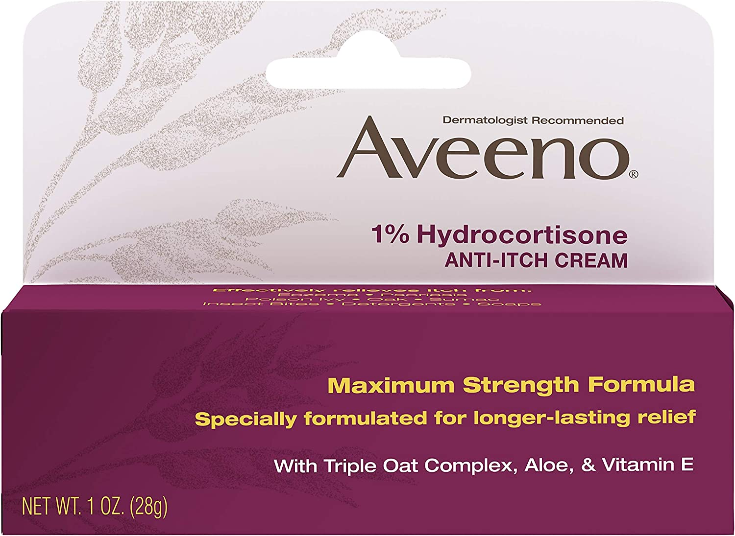 Aveeno Maximum Strength 1% Hydrocortisone Anti-Itch Cream with Pure Oat Essence, Triple Oat complex, Aloe & Vitamin E, For Itch, Rash & Redness Relief, 1 oz (Pack of 2) : Beauty