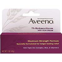 Aveeno Maximum Strength 1% Hydrocortisone Anti-Itch Cream with Pure Oat Essence, Triple Oat complex, Aloe & Vitamin E…