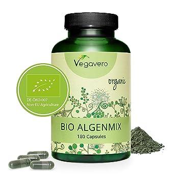 BIO SPIRULINA + CHLORELLA + YODO Vegavero® | Antioxidante + Detox + Energía | Rico en Clorofila + Ficocianina | 180 Cápsulas | Testada en Laboratorio ...