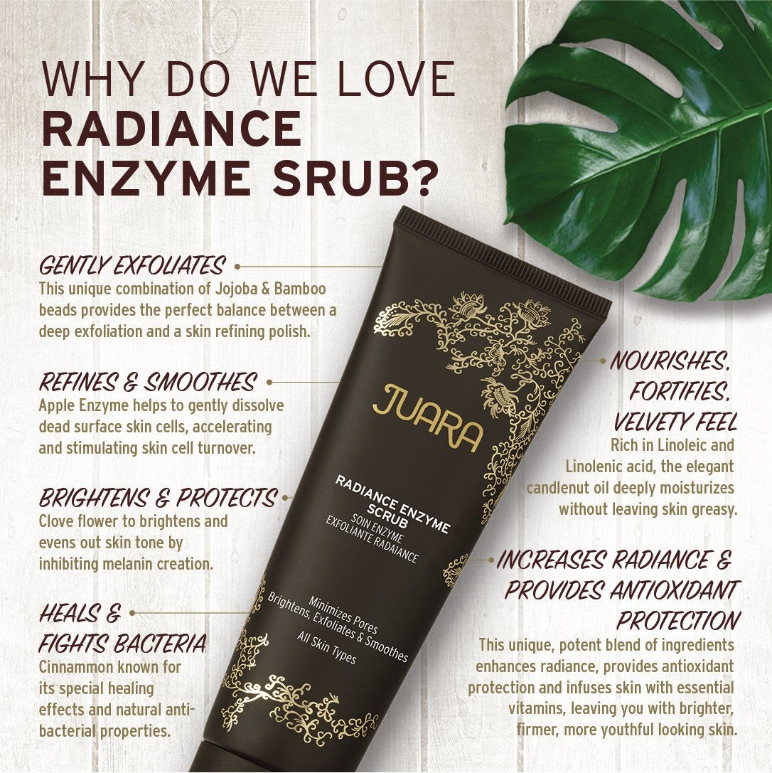 outlet store c70b6 e0602 Amazon.com   JUARA Radiance Enzyme Scrub - Facial Enzyme Scrub - Physical  Exfoliant Enzyme Facial Scrub for All Skin Types - Enzyme Exfoliant for  Face ...