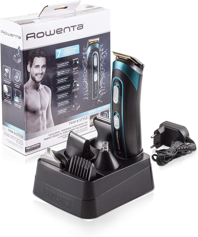 Rowenta TN9130 Trim & Style - Cortapelos para barba y cuerpo 7 en 1, accesorios de afeitado, nariz, oreja, patillas, recorte y afeitador corporal, autonomía 60 minutos y batería recargable