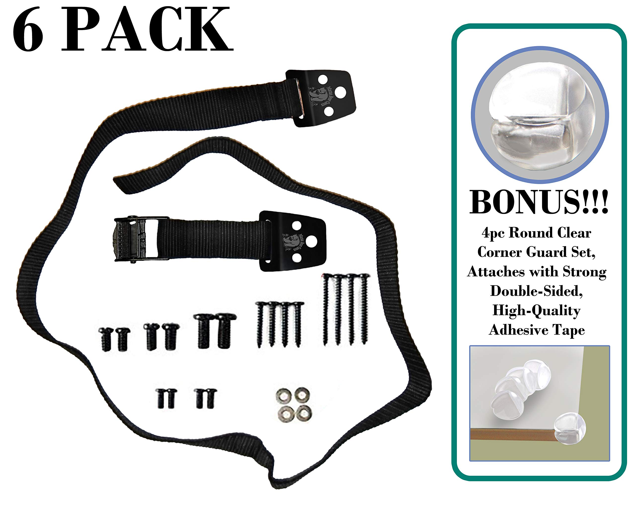 MAMA BEAR CARES - 40'' Steel Furniture Anchors for Baby Proofing, Anti-Tip TV & Furniture Safety Straps with Iron CAM Security Buckles