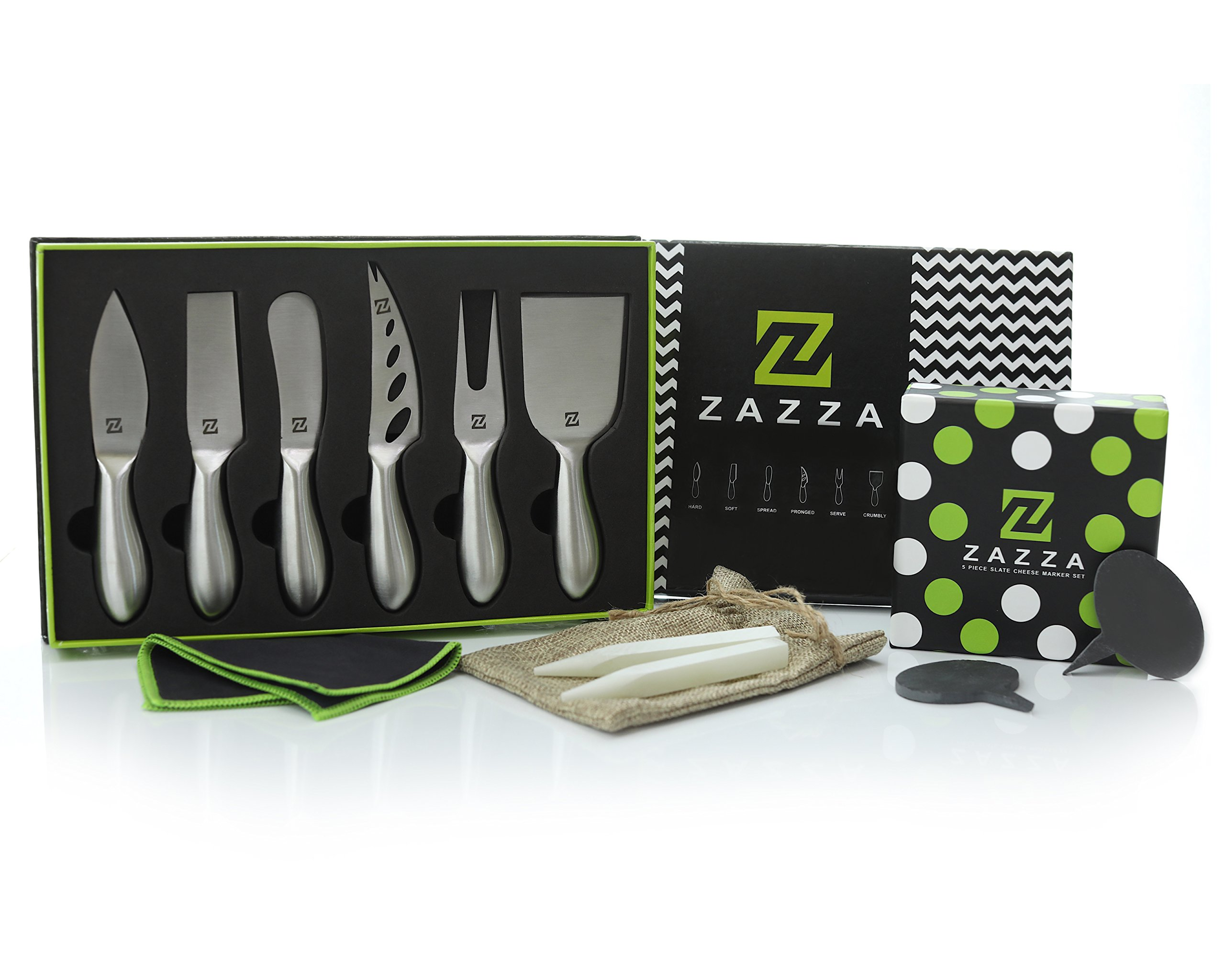 Zazza Premium 6-Piece Cheese Knife Set PLUS 5 Cheese Markers Set 2 Soapstone Chalks with Gift Box Perfect for Charcuterie Boards Wine and Cheese Parties by Z ZAZZA ACCESSORIES FOR SOPHISTICATED CHEFS