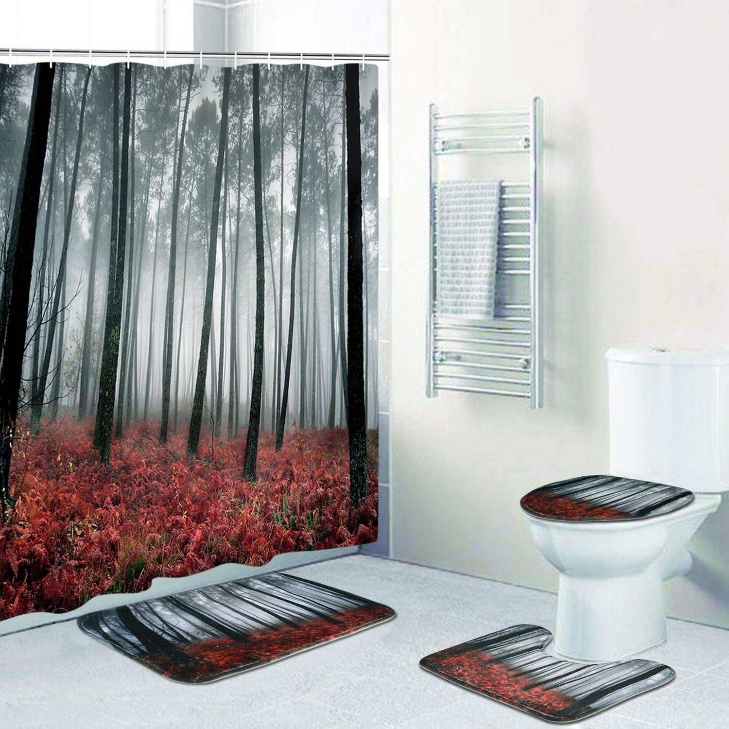 Mystic Forest Shower Curtain Sets with Non-Slip Rugs, Toilet Lid Cover and Bath Mat, Trees Red Leaves Shower Curtains with 12 Hooks, Durable Waterproof Bath Curtain