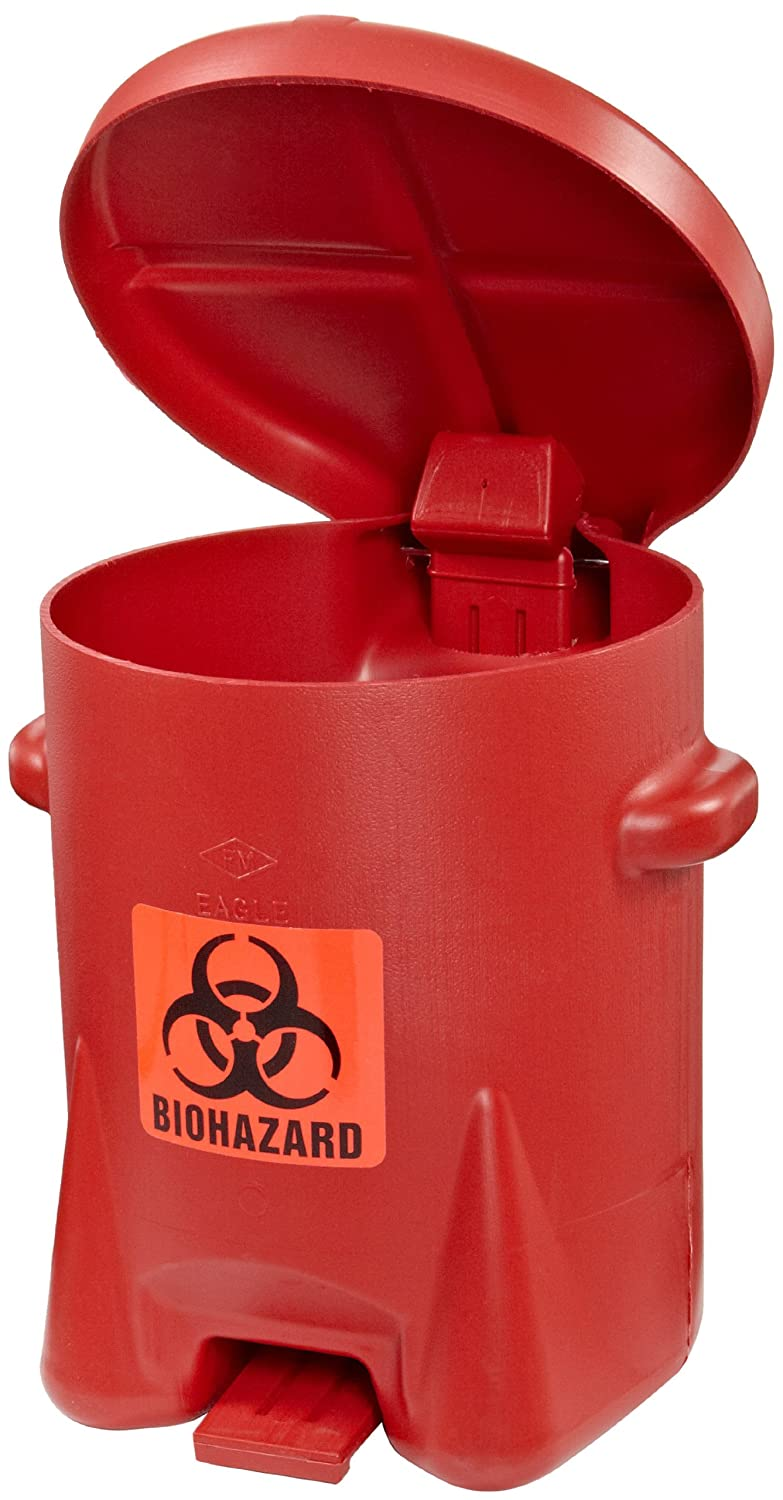 B00206CEAG Eagle 943BIO Biohazardous Waste Polyethylene Safety Can with Foot Lever, 6 Gallon Capacity, Red 818E7COdwyL