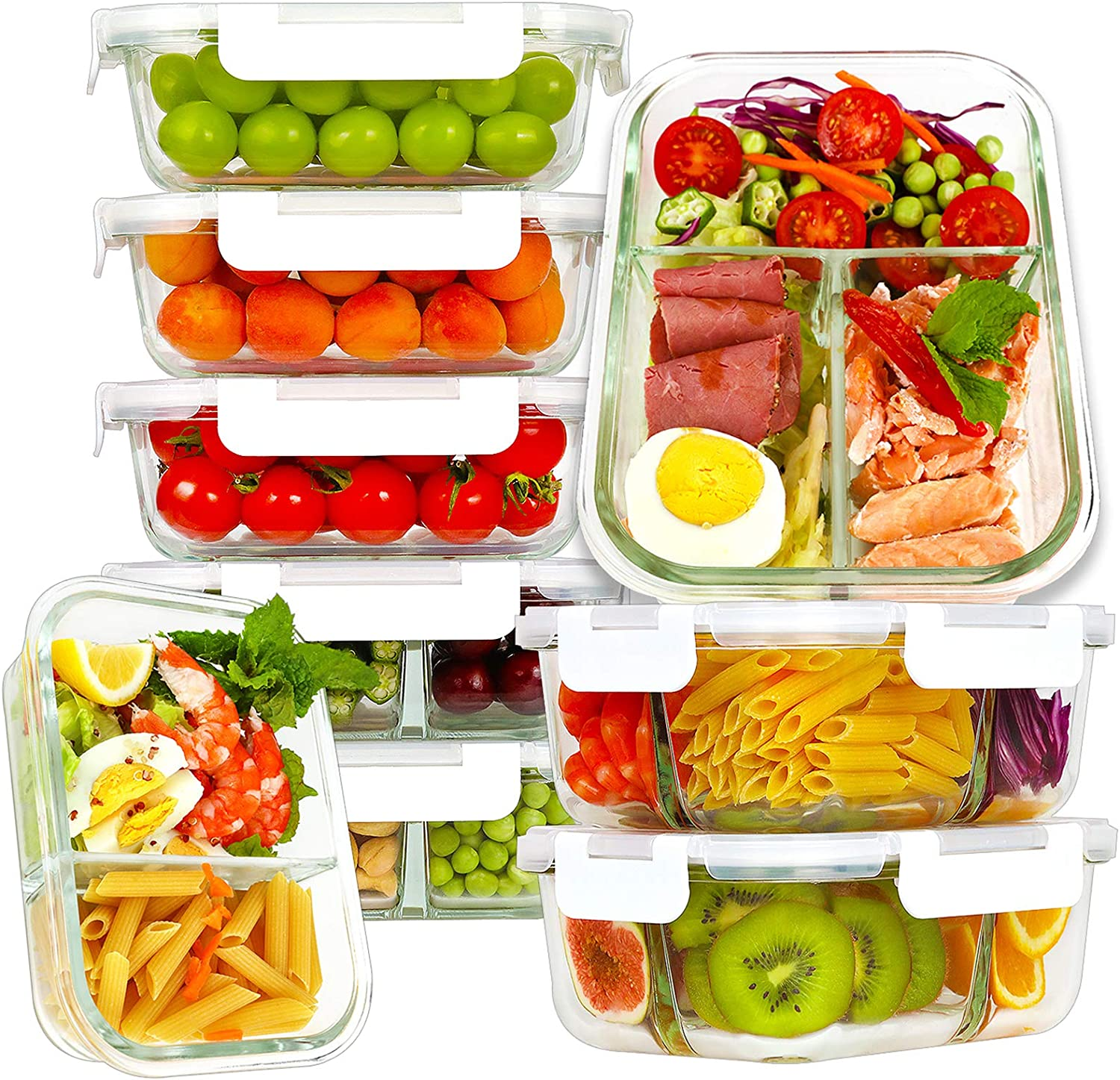 Bayco 9 Pack Glass Meal Prep Containers 3 & 2 & 1 Compartment, Glass Food Storage Containers with Lids, Airtight Glass Lunch Bento Boxes, BPA-Free & Leak Proof (9 lids & 9 Containers) - White