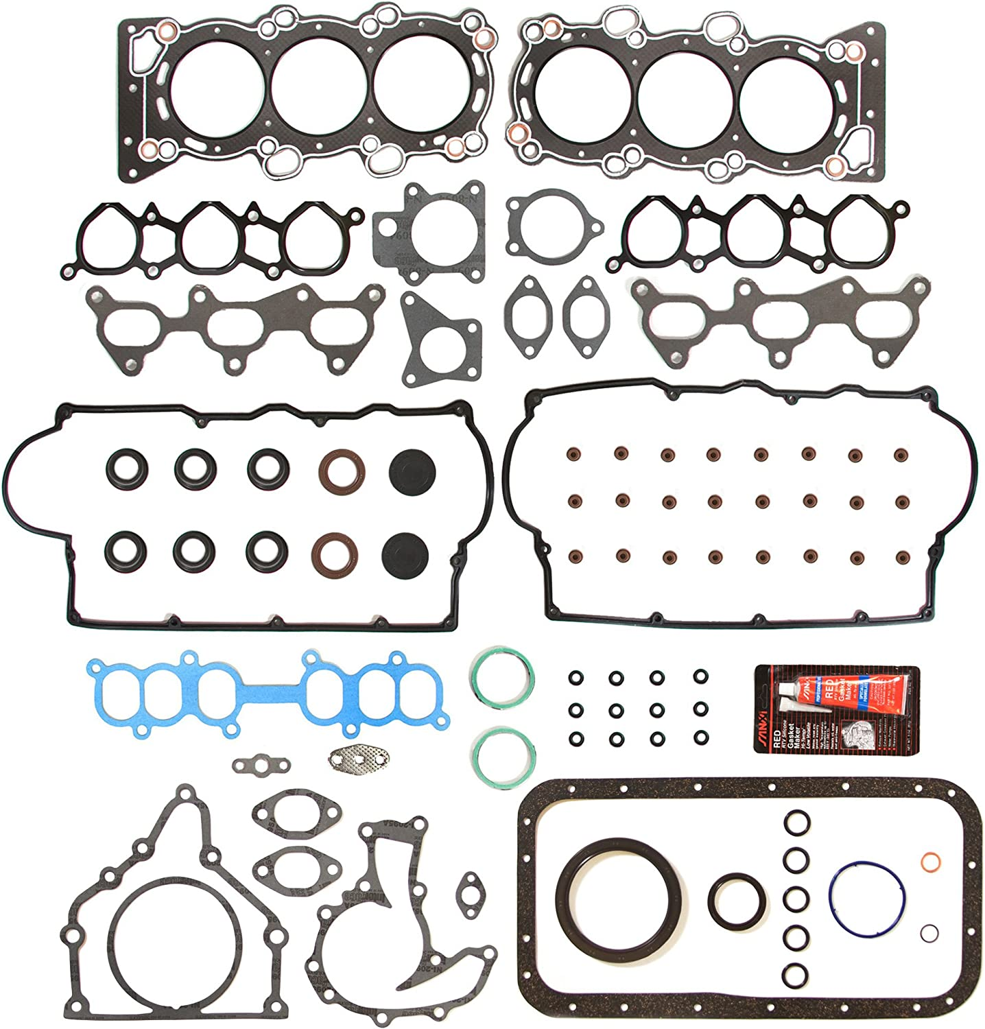 0.010 Oversize Main Rod Bearings Evergreen Engine Rering Kit FSBRR4028-2EVE\2\1\1 Fits 92-95 Honda Civic 1.5 SOHC D15Z1 Full Gasket Set 0.25mm 0.020 Oversize Piston Rings 0.50mm