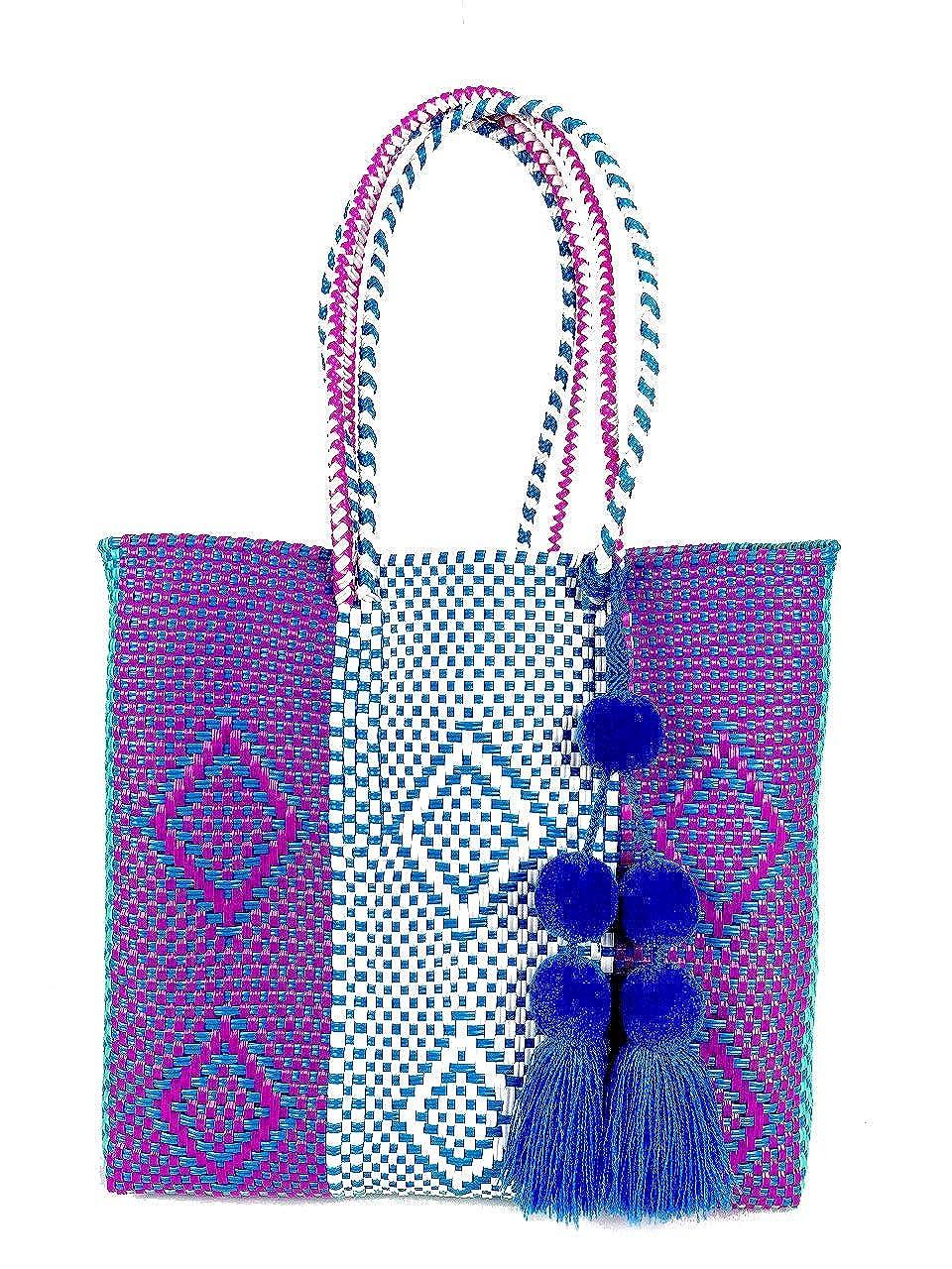 [Viva la Vida]メキシコ直輸入 メルカドバッグ(バッグチャーム付き) M 持ち手ロング 紫×青 カゴバッグ トートバッグ   B07QFDDXJW