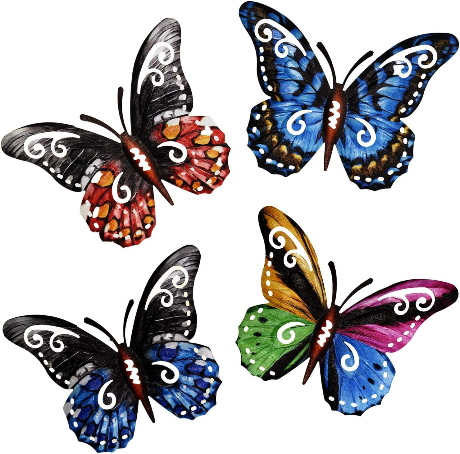 MIXUN Metal Butterfly Wall Art Hanging Decor for Patio Garden Backyard Outdoor
