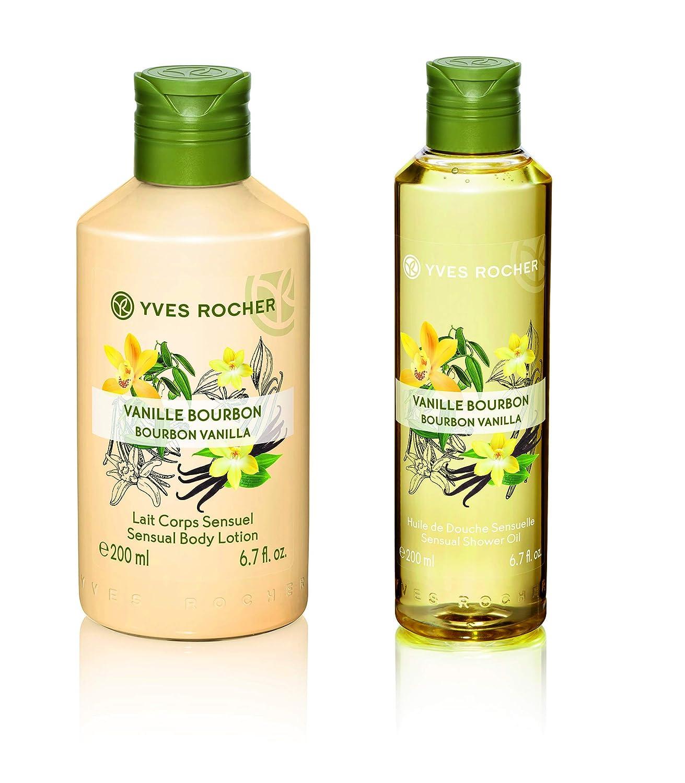 Yves Rocher Les Plaisirs Nature Sensual Body Lotion Bourbon Vanilla, 200 ml./6.7 fl.oz. + Sensual Shower Oil - Bourbon Vanilla, 200 ml./6.7 fl.oz.