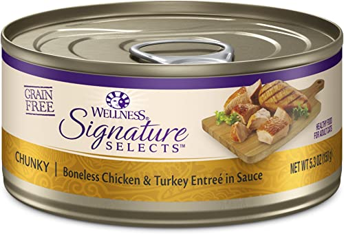 Wellness Core Signature Selects Natural Canned Grain Free Wet Cat Food Chunky Chicken Turkey