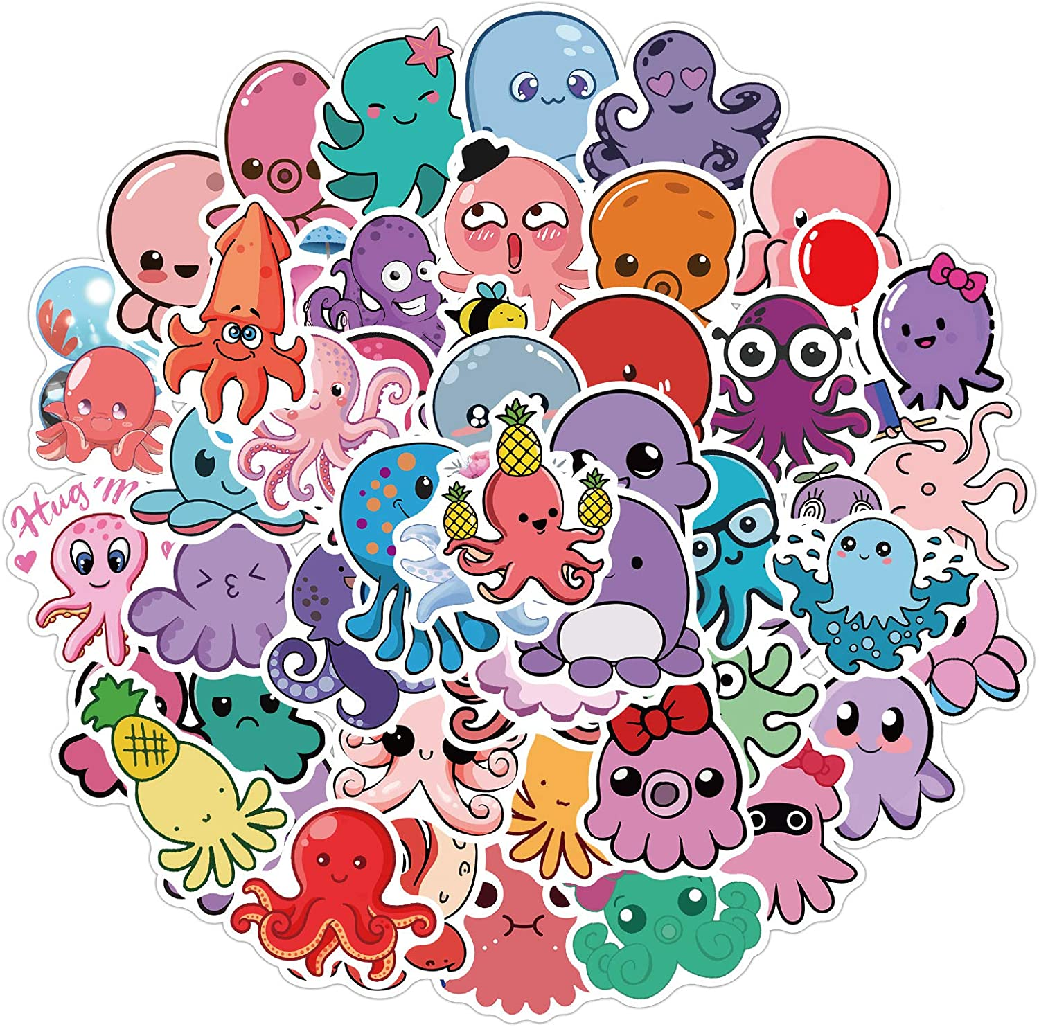Cute Octopus Stickers Aesthetic Trendy Positive Stickers for Water Bottles 50pcs, Vinyl Waterproof Laptop Stickers Colorful Octopus Decal Party Decorations