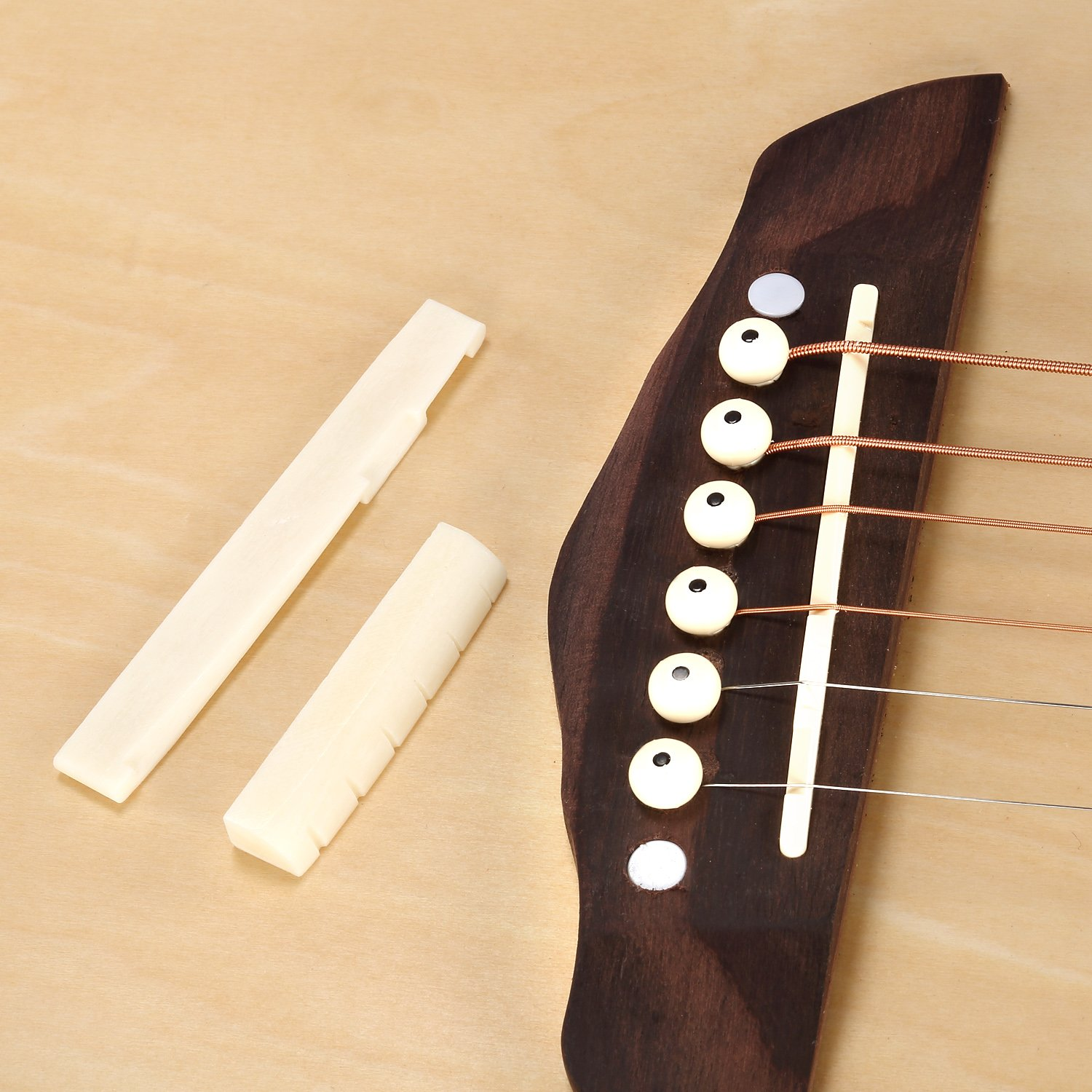 Neewer® 4 Sets of 6 String Acoustic Guitar Bone Bridge Saddle and Nut Made of High Quality Real Oxen Bone--Ivory