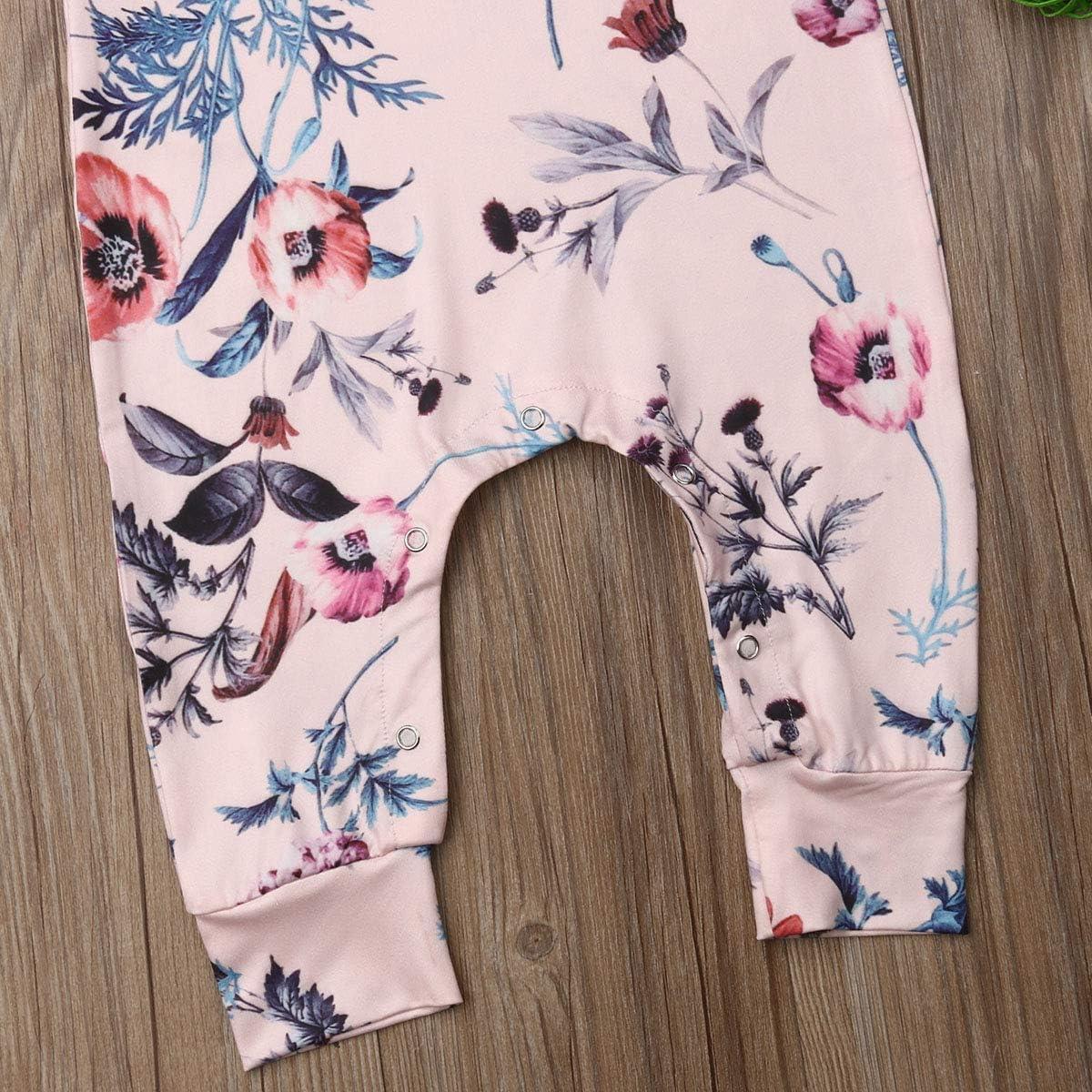 Newborn Baby Girl Floral Printed Romper Outfits Short Sleeve Summer Bodysuit