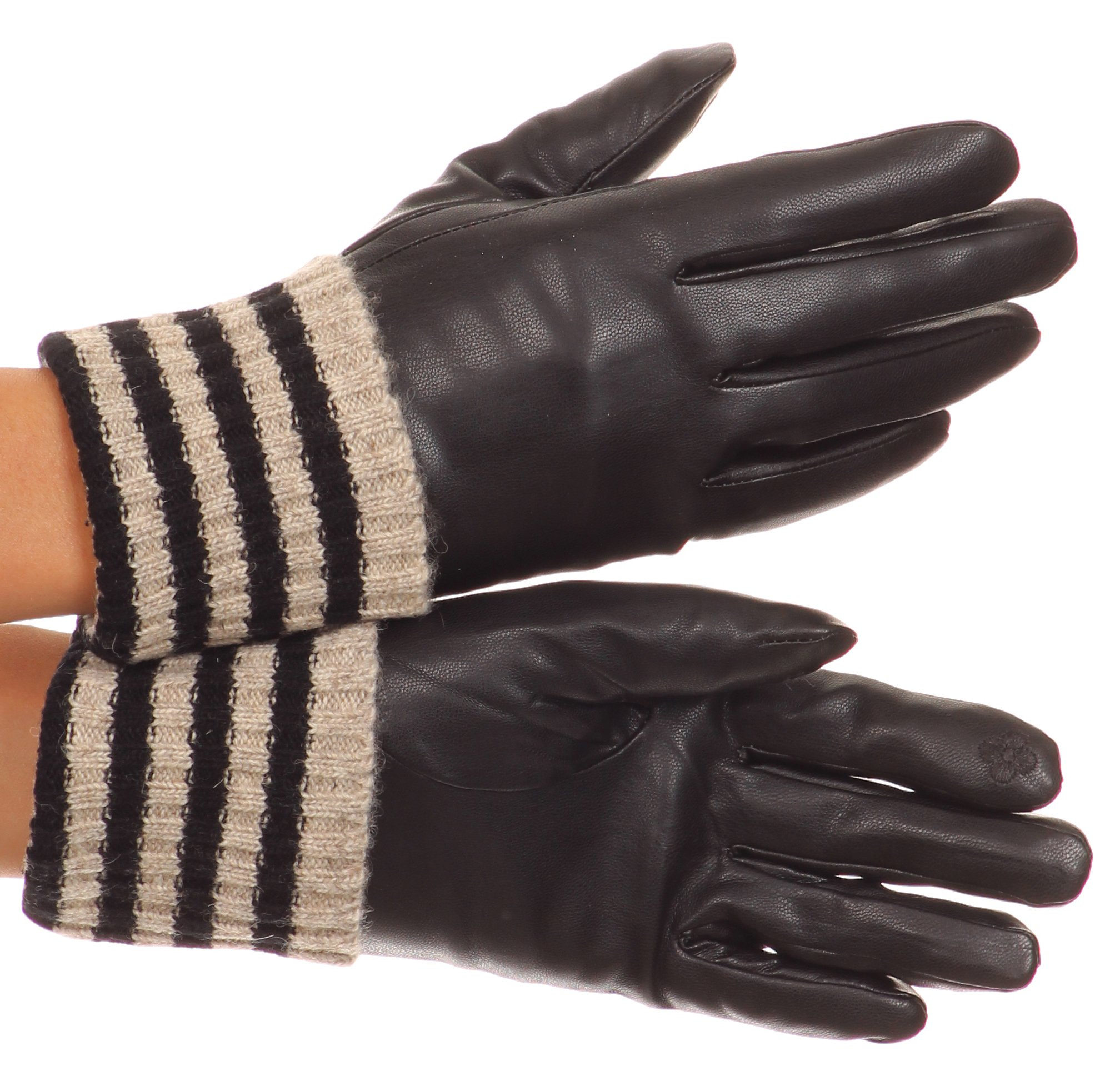 Sakkas CMZ1523 - Oda Warm Striped Wool Cuff Winter Touch Screen Wrist Length Gloves - Black - Large