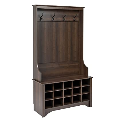 Beau Prepac Hall Tree With Shoe Storage In Espresso Finish