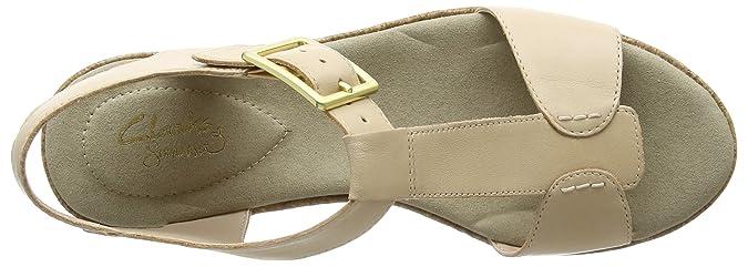Clarks Womens Kamara Kiki Nude Leather T Bar Sandals 26122904