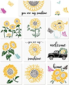 10 Pieces Sunflower Stencil Sunflowers, Trucks, Bees, Butterflies Painting Templates for Arts Card Making Journaling Scrapbooking DIY Furniture Wall Floor Painting on Wood Fabric