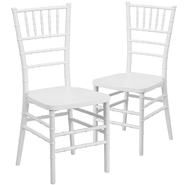 Flash Furniture 2 Pk. HERCULES PREMIUM Series White Resin Stacking Chiavari Chair