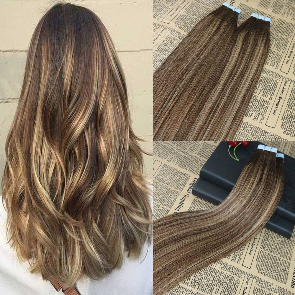 14 20pcs 50g Tape In On Real Hair Extensions Brown Fade To Honey