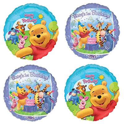 Winnie The Pooh First Birthday - 4 Large Balloon Party Decorations For A Baby's 1st Birthday. Make A Bouquet Decoration Or Backdrop Banner and Have A Memorable Babys 1st Birthday Celebration: Toys & Games